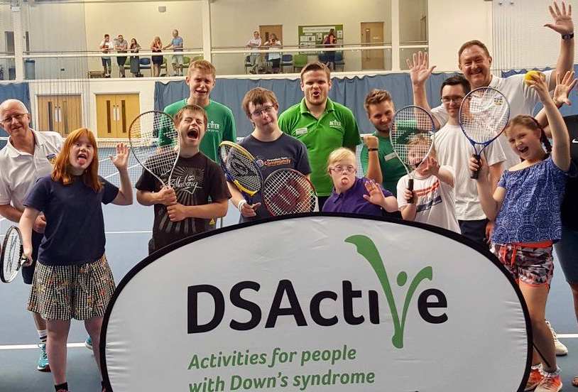 Players and coaches, including Tennis Shropshire chairman Bob Kerr and vice-chairman Simon Jones, at last weekend's taster session at Telford Tennis Centre