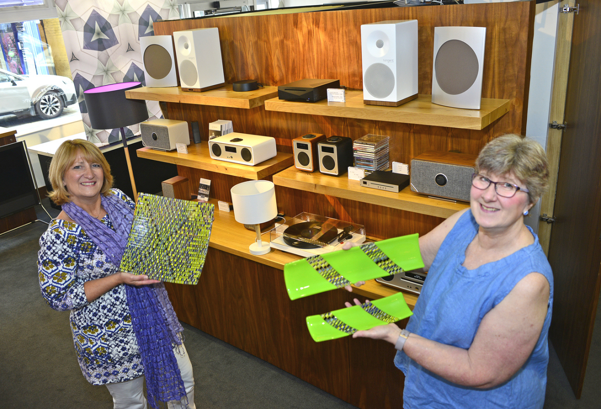 Tina Boyle of Acoustic Boutique with Jill Bagnall, who runs Fusing Ideas Glass