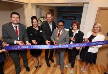 Pictured at the opening is Shaun Davies (Leader of Telford & Wrekin Council), Alex Wreford (Hotel Manager, Telford Travelodge ), James Hellewell (Travelodge Chief Technology Officer), Raj Mehta (Mayor of Telford and Wrekin), Councillor Rae Evans (Cabinet Member for Tourism & Partnerships), Nichola Stevens (Regional Director Travelodge)