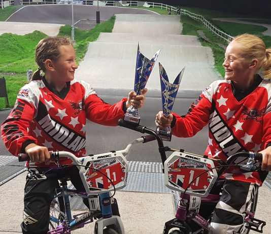 Wrekin Riders Chelsey Barnett and Erin Marsh who both took the British number 6 titles in the British BMX Championships in Blackpool