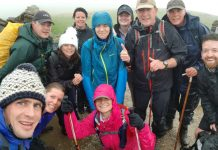 A group from Savills feeling the cold at the top of Pen y Ghent