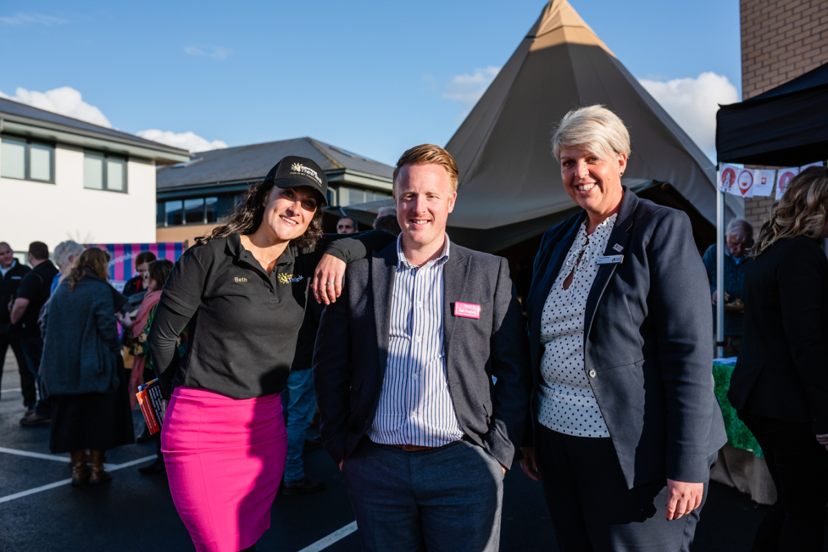 Beth Heath, Shropshire Festival's Director of Fun with Rob Hughes, MD and founder of Reech Media and Teresa Rowe from Shropshire Chamber of Commerce