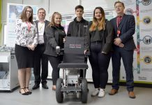 Claire Hancock and Andy Tromans from Ricoh with Apprentices Chloe Millington, Tom Mills and Belinda Nightingale and Curriculum Leader Andrew Lee