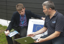 Cllr. Elliott Lynch (left) was recently briefed about RuralOptic by Red Peel, Director of Airband