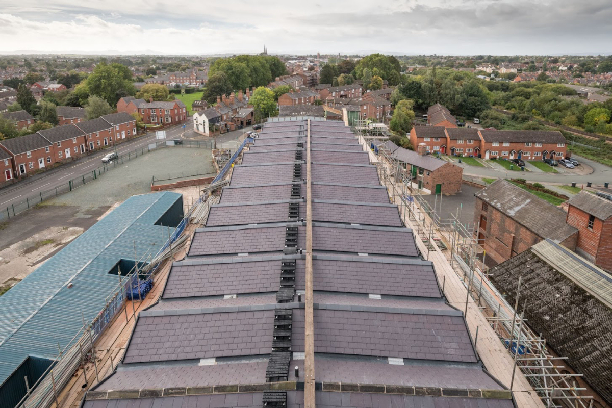 The new roof of the Grade I listed Main Mill. Photo: Historic England