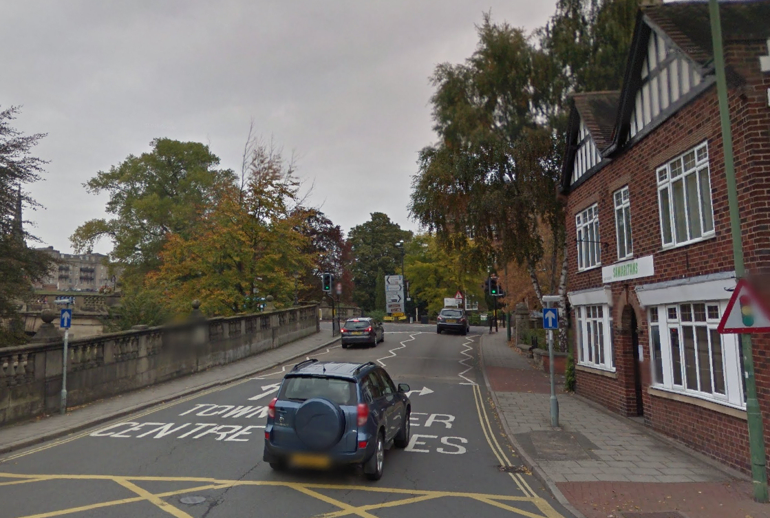 Work to fix the leak is taking place on Coleham Head near English Bridge. Photo: Google Street View