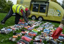 Some of the almost 400 cans collected by the CPRE Shropshire volunteers