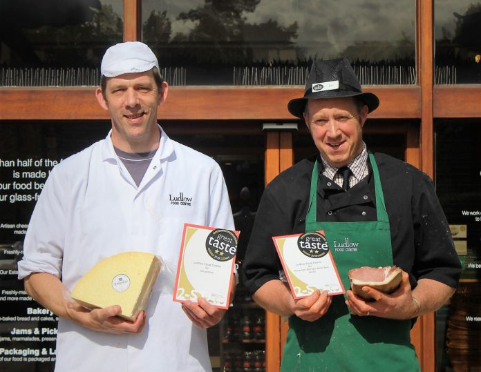 Ludlow Food Centre is celebrating being awarded two stars for its Shropshire Cheese and Gloucester Old Spot Black Back Bacon