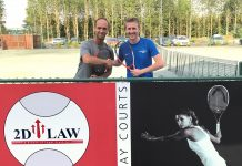 Marketing manager Jon Gidney, right, with Adam Wharf, the head of performance tennis at The Shrewsbury Club
