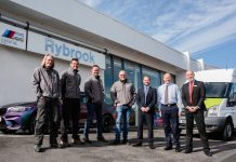 ProClean's general site manager Michael Whitfield, dealership manager Jason Jones, managing director Tom Sykes, operations director Leon Jones, with Rybrook Shrewsbury's used retail sales manager Dan Francis, after sales manager Peter Powell, and general sales manager Dale Mackenzie