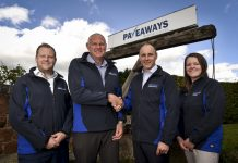 Pave Aways' new Business Development Director Paul Moran is welcomed to the firm by MD Steven Owen (second left), Construction Director Jamie Evans (left) and Commercial Director Victoria Lawson (right)