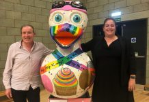 Pensionlite managing director Mike Shaw and Pensionlite financial planning director Lorna Evans with C-Ellie-Brate the duck