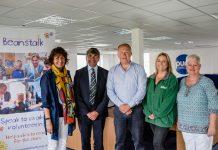Lois Breen of Beanstalk, Toby Shaw of TSR, Matt Sandford of Pure Telecom, Kate Thomas of Macmillan and Jane Jervis fundraiser for Shrewsbury and Telford cancer wards