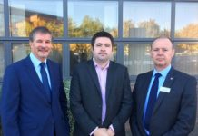 Pictured are SaTH Chairman Ben Reid, Cllr Shaun Davies and SaTH chief executive Simon Wright following this morning's meeting. Photo: Telford & Wrekin Council