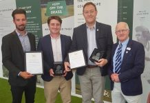 Shropshire's regional winners in the British Tennis Awards last year, from left, Harrison Gwilt and Josh Price on behalf of Monkmoor Recreation Ground being named Community Venue of the Year, and Simon Jones, of Tennis Shropshire's Fun Competitions which was selected as the winner of the Competition of the Year for the Midlands, and, right, chairman Bob Kerr