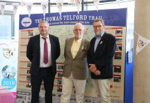 Richard Partington Managing Director, Telford & Wrekin Council (left), Bernie Jones, Chairman, Shrewsbury & Newport Canals Trust (centre) and John Freeman, Vice-Chairman Shrewsbury & Newport Canals Trust at the launch of the Thomas Telford Trail