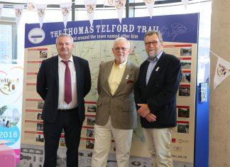 Richard Partington Managing Director, Telford & Wrekin Council (left), Bernie Jones, Chairman, Shrewsbury & Newport Canals Trust (centre) and John Freeman, Vice-Chairman Shrewsbury & Newport Canals Trust at the launch of the Thomas Telford Trail