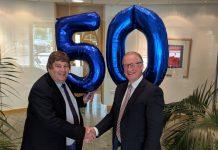 Dave Morris with Phil Lane, Managing Partner of Whittingham Riddell Chartered Accountants