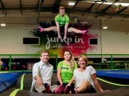 Duncan Kemp, general manager of Jump In Shrewsbury with Sally Johnson, founder of The Harry Johnson Trust, and Jump In staff ready for the half-term fundraising challenges