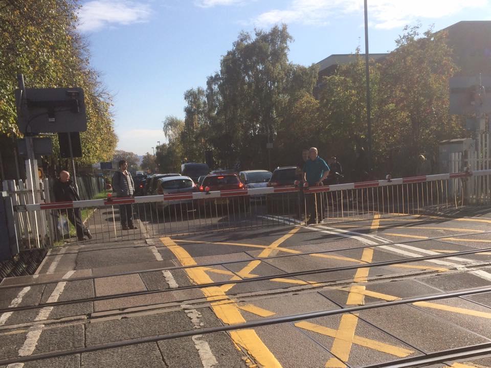 The scene of the incident at Harlescott level crossing in Shrewsbury. Photo: Barbara Collins