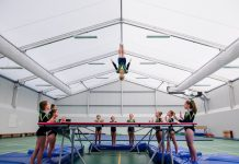 Imogen in action in the gym at Adcote School for Girls