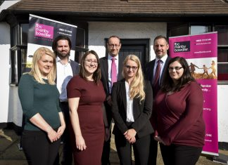 Celebrating FBC Manby Bowdler's expansion into Church Stretton are, back Graham Fuller, Neil Lloyd and Tom Devey, and front, Louise Jones, Carina Kervin, Lucy Beaumont and Mary Prosser