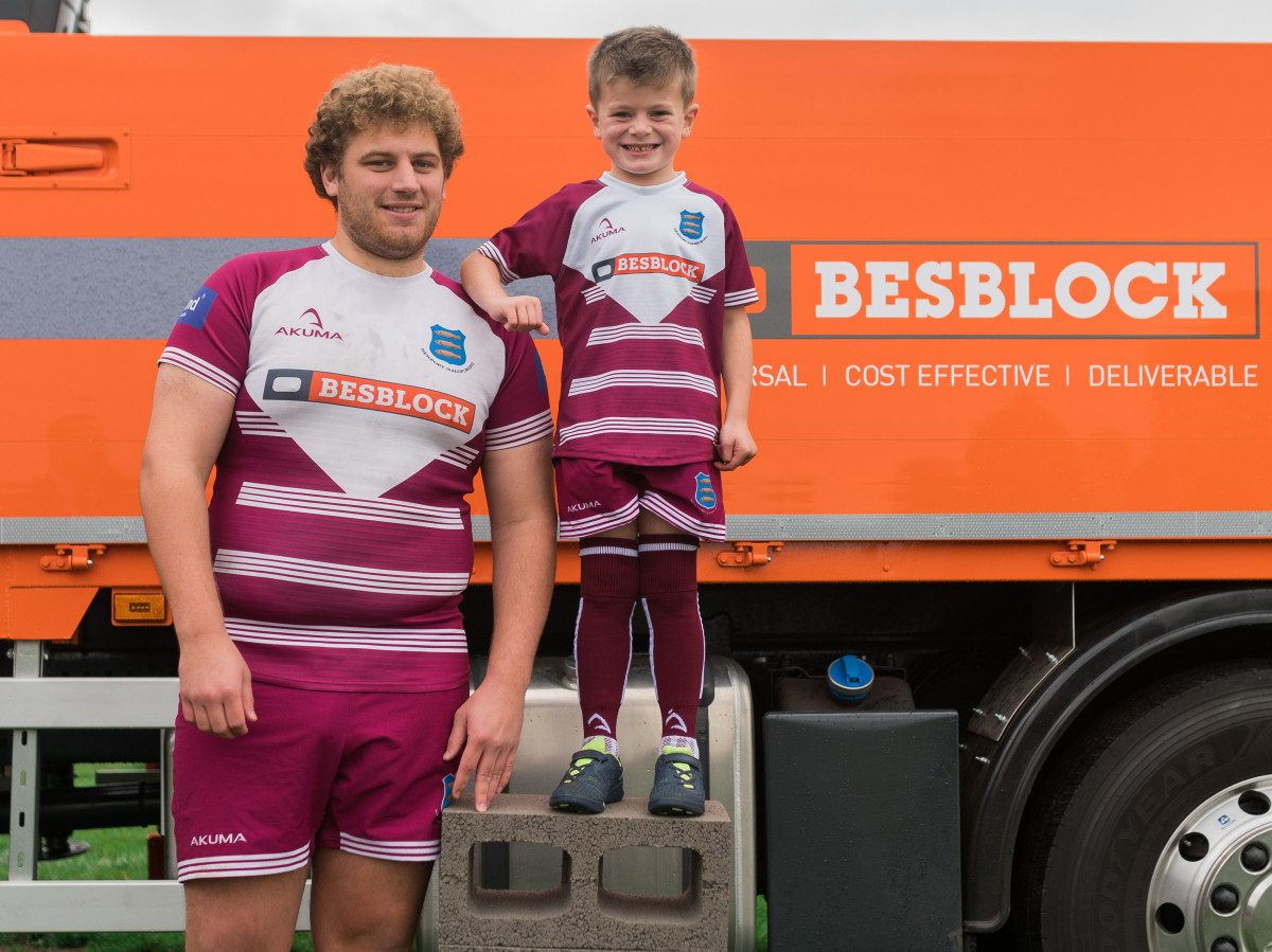 Nathan Parker, aged 25, and Bertie Smith, aged five, size each other up at the Newport Salop Rugby Club Ground