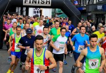 Runners leave the starting line of the 2017 Bridgnorth 10k. Photo: Brian Smith