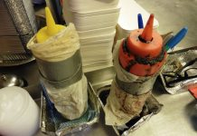 Sauce bottles at the business were found encrusted with food, wrapped in plastic bags and duct tape. Photo: Telford & Wrekin Council