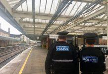 British Transport Police at Shrewsbury railway station. Photo: @WMerciaPolice