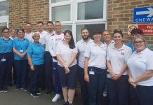 Richard Kilty, centre, with Physio staff at The Robert Jones and Agnes Hunt Orthopaedic Hospital