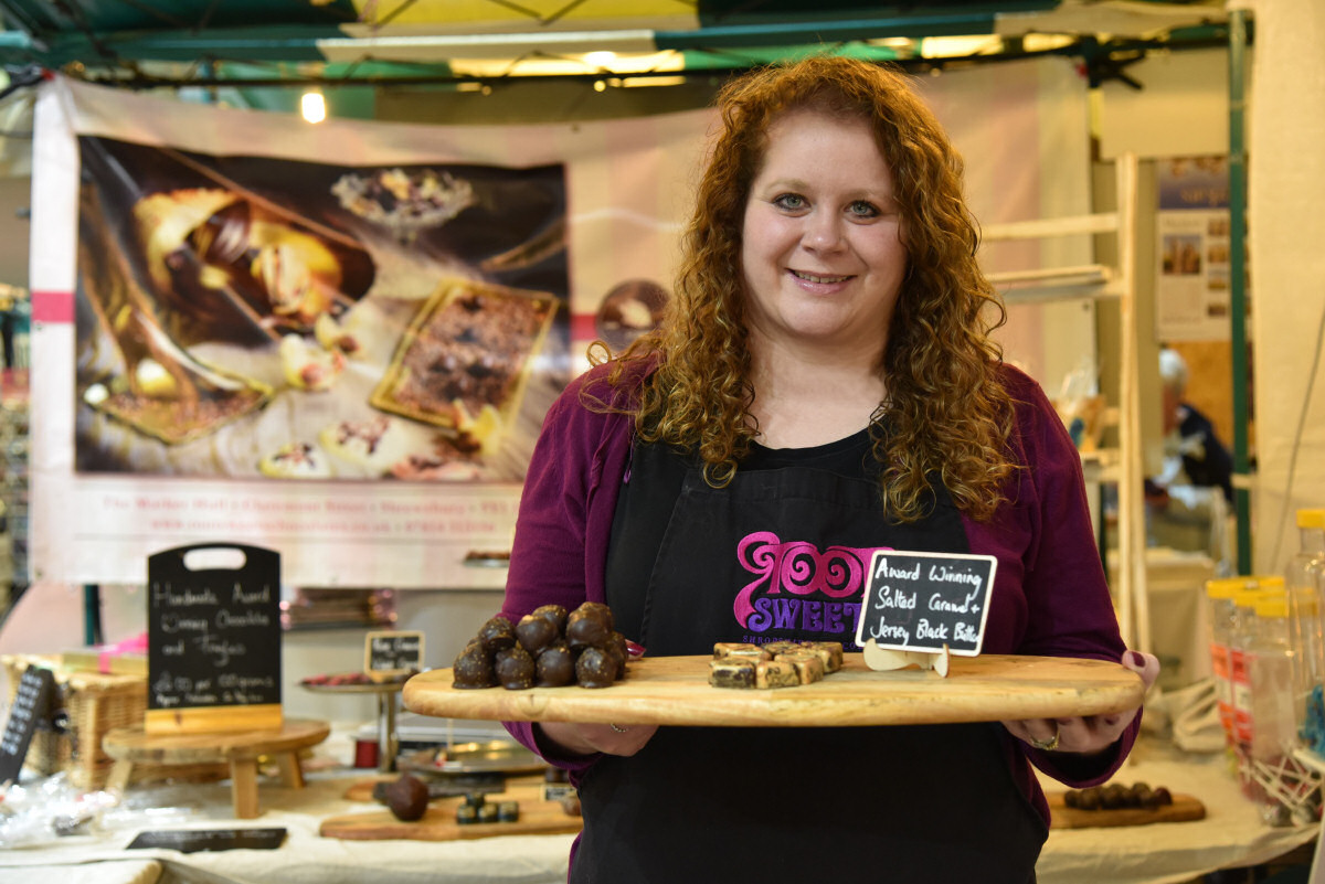Artisan chocolatier Julia Viani with her chocolates that are shortlisted for the International Chocolate Awards