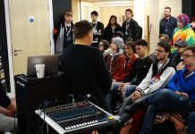The MAS Records team talking to music students at Telford College's Haybridge campus, about the exciting new partnership