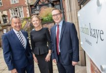 At the new Martin-Kaye office in Shrewsbury are, from left, Graham Davies, Emma Jones and Simon Wagner