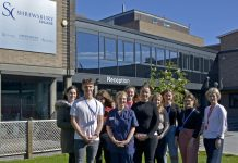 Gareth Matthews, Rachel Armstrong, Nicola Brockley, NHS Workforce Marketing & Media Officer and Catherine Armstrong, SCG Group Vice Principal Curriculum Support and Business Development and students from Health & Social Care