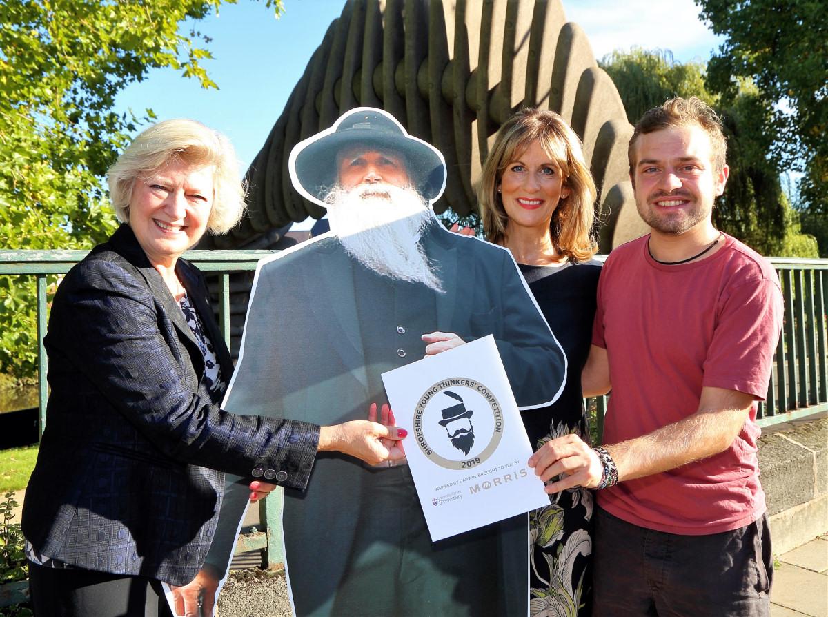 Professor Anna Sutton (UCS), Charles Darwin, Katie Morris (Morris & Co) and Jake Evans