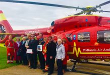 Members of the Freemasons' Provincial Grand Lodge of Shropshire visited the Midlands Air Ambulance Charity's RAF Cosford airbase