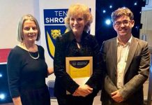 Fiona Jones, centre, from Market Drayton Tennis Club, pictured with Liz Boyle and Simon Haddleton, was named volunteer of the year when Tennis Shropshire held their British Tennis Awards presentation night last year