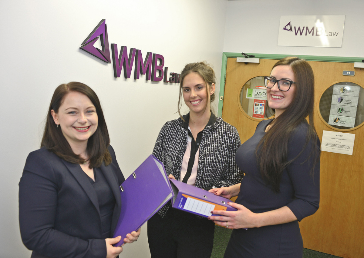 The new team at WMB Law of Telford, from left, Natalie Holloway, Nicole Brown and Natalie Dodds