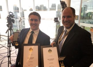 Ross D'Aniello and Tom Skelley from Nock Deighton with the awards