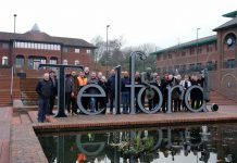 Telford Square and the restored Thomas Telford statue was officially opened this afternoon. Photo: Telford & Wrekin Council