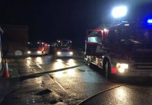 Fire appliance at the scene of the fire in Calverhall. Photo: Market Drayton Fire Station