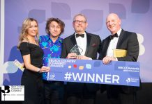 At the awards ceremony are pictured Charlotte Hill, comedian Milton Jones, Phil Winnington and David Roberts