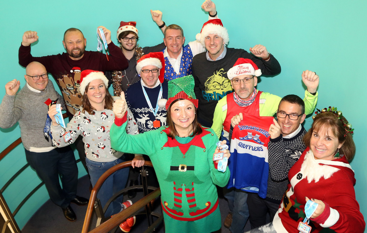 Some of this year's participants from back left, Anthony Hughes and Dave Williams (Henshalls), Tom Richards (Flex IT), Nick Jones (Nick Jones Wealth Management), Ben Mason (Aaron & Partners). 	Middle row, from left, Naomi Atkin (Lingen Davies Cancer Fund), Vinny Crean (Flex IT). Front row, from left, Francesca Hutcheson (Dyke Yaxley), Rick Garcia (Shropshire Shufflers), Steve Oliver (Nick Jones Wealth Management) and Mandy Thorn (Marches Care)