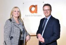 Deborah Mitchell of Heaven Skincare with Stuart Haynes of Aaron & Partners