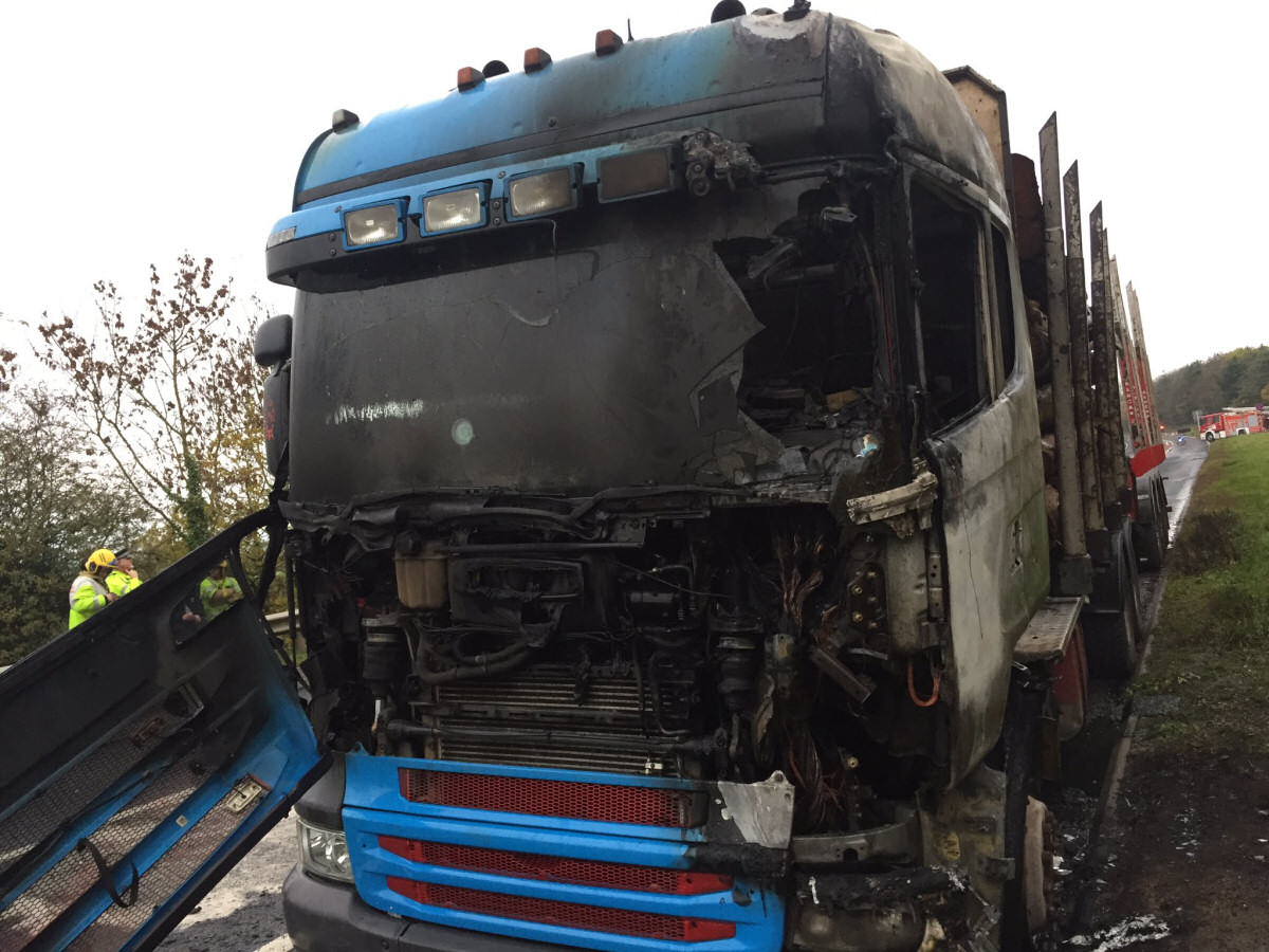The burnt out cab of the lorry. Photo: @SFRS_CravenArms