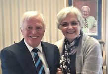 Russ Smith who has retired from Furrows after 50 years' service with Furrows director Jane Coward