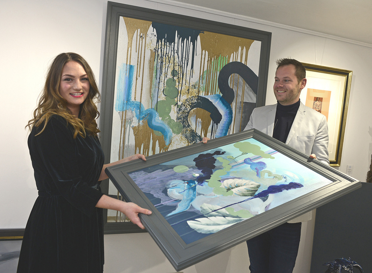 Artist Georgina Walton with some of her work with Jonathan Soden of The Soden Collection Gallery