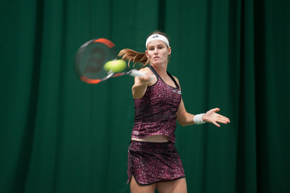 Belgian Greet Minnen, who will face top seed Arantxa Rus in the quarter finals, beat fifth seed Anna Zaja in the second round. Photo: Richard Dawson Photography