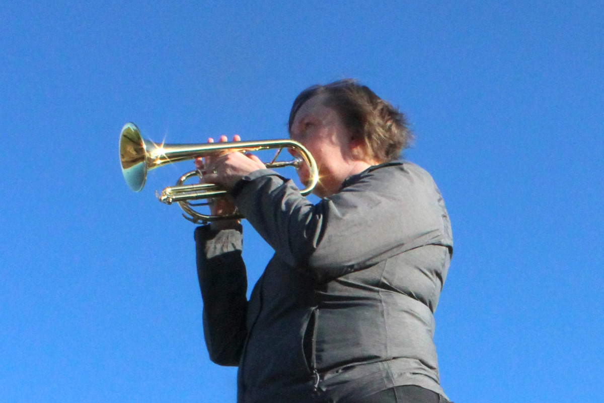 Kath Gavan of the Porthywaen Silver Band will play the Last Post and Reveille